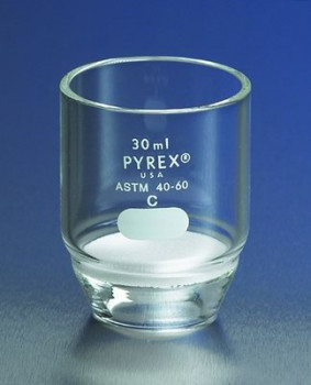 Pyrex® Gooch Low Form Crucibles with Fritted Disc