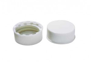 Kimble® White Polypropylene Caps with Pulp-Backed Aluminum Foil Liners