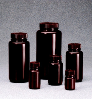 Nalgene™ Wide Mouth Amber HDPE Bottles