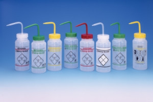 Safety Labeled Wide Mouth 2-Color Wash Bottles, Vented