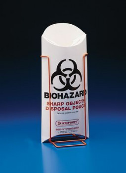Biohazard Sharp Object Safety Pouch and Stand
