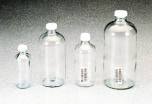 Boston Round Narrow-Mouth Clear Glass Bottles with Closure