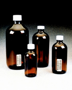 Boston Round Narrow-Mouth Amber Glass Bottles with Closure