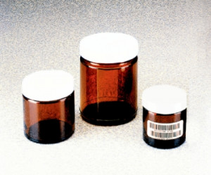 Wide-Mouth Short-Profile Amber Glass Jars with Closure